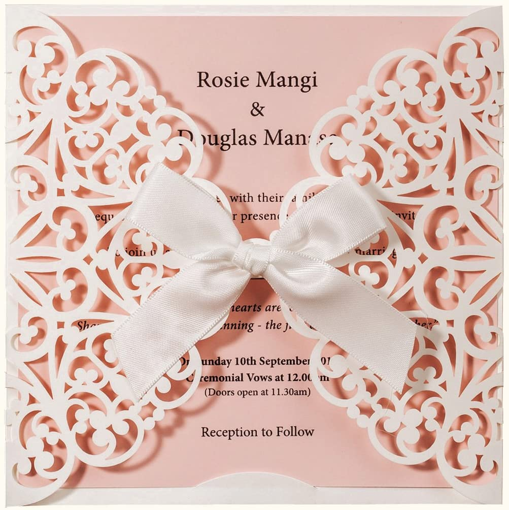 WISHMADE Square White and Pink Laser Cut Wedding Invitations Cards with Bow  Lace Sleeve for Baby Bridal Shower Birthday Engagement Wedding Invites