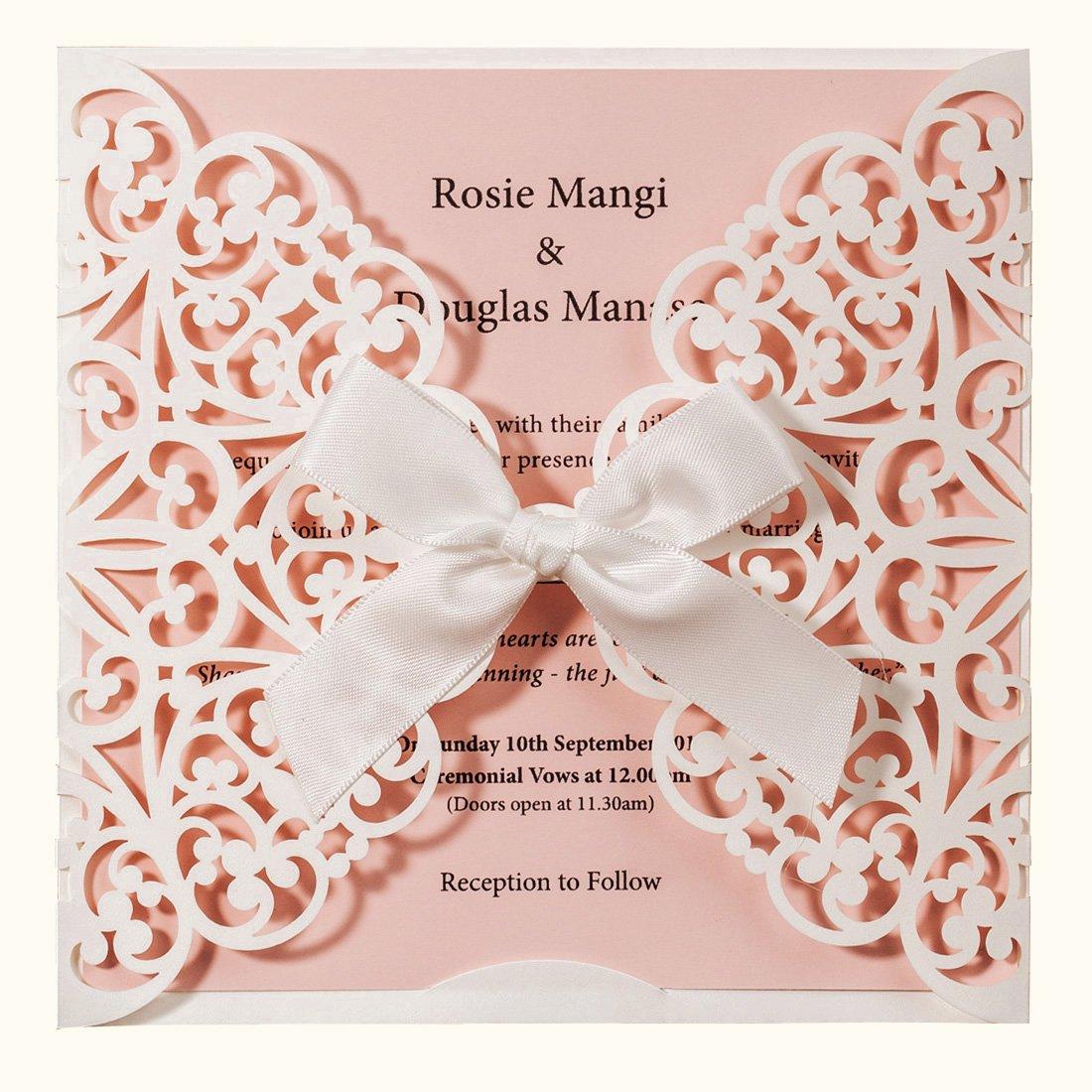 Amazon Com Wishmade Laser Cut Wedding Invitations Square White And