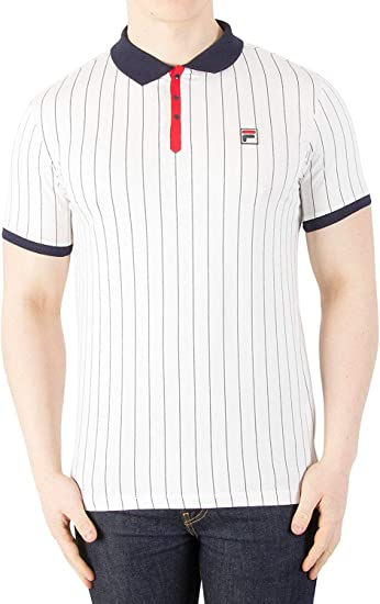 Fila Vintage BB1 Classic Stripe Polo Shirt | Peacoat/Chinese Red ...
