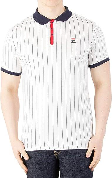 Fila Men's BB1 Vintage Striped Polo Shirt, White, 4XL at