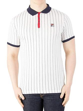 52700be747900 Fila Vintage BB1 Classic Stripe Polo Shirt | White/Peacoat/Red:  Amazon.co.uk: Clothing
