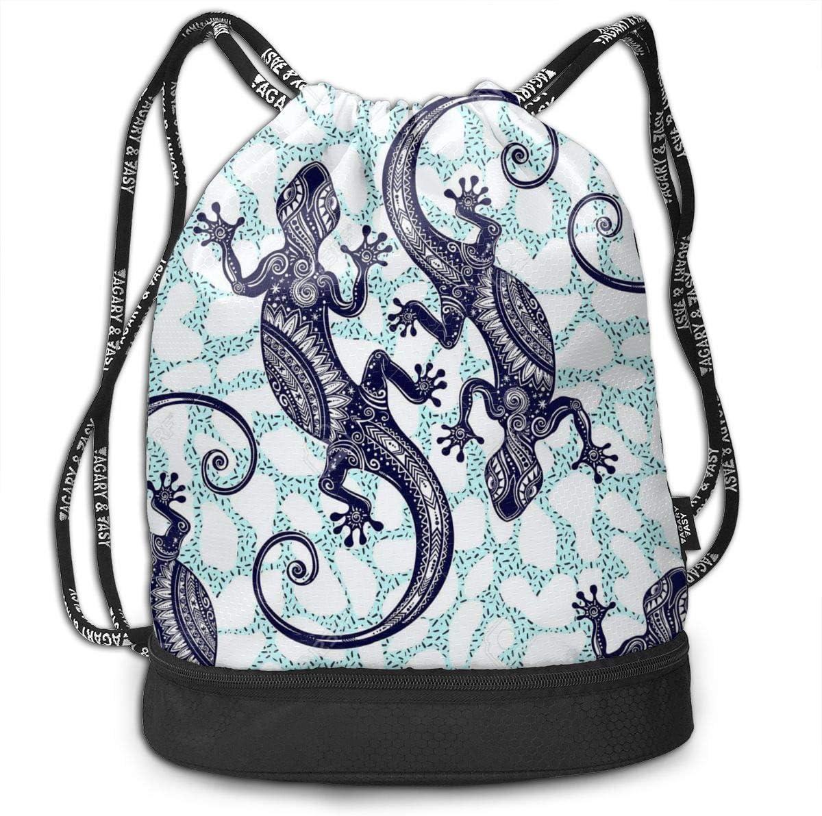 GymSack Drawstring Bag Sackpack Pattern Gecko Sport Cinch Pack Simple Bundle Pocke Backpack For Men Women