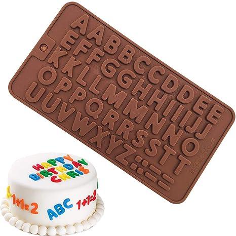 Molde de silicona hecha a mano para decoración de tartas, 50 letras mayúsculas