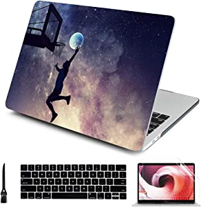 Case for New MacBook Pro 13 inch Model A2159 A1989 A1706 A1708 2019 2018 2017 2016 Release Aesthetic Star Creative Dunking Pattern Design Hard Laptop Cover with Keyboard Brush Skin Screen Protector