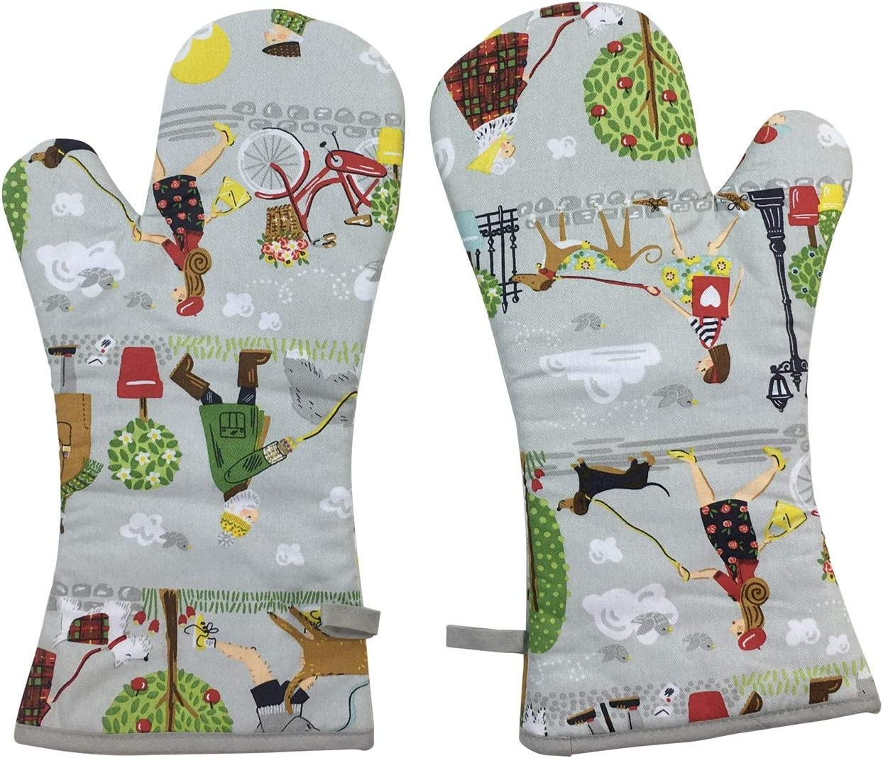 DOG WALKERS TREES GREY RED GREEN 100/% COTTON KITCHEN TEA TOWEL