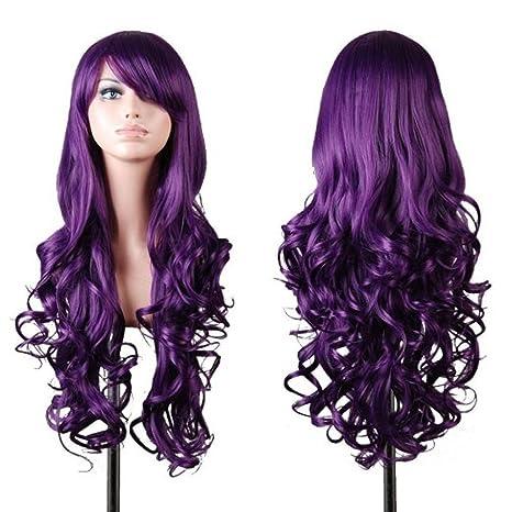 Kissparts 80cm Peluca ondulada violeta oscura de las pelucas de las mujeres con el casquillo y