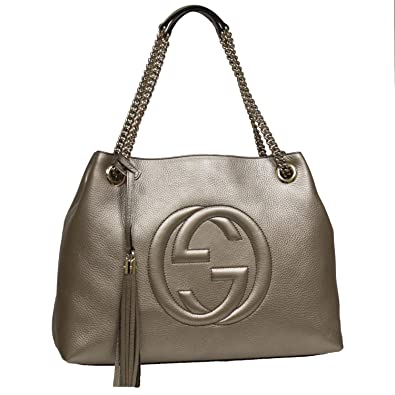37d44e355a7 Amazon.com  Gucci Soho Interlocking GG Golden Metallic Beige Chain Shoulder  Handbag 308982 9524  Shoes