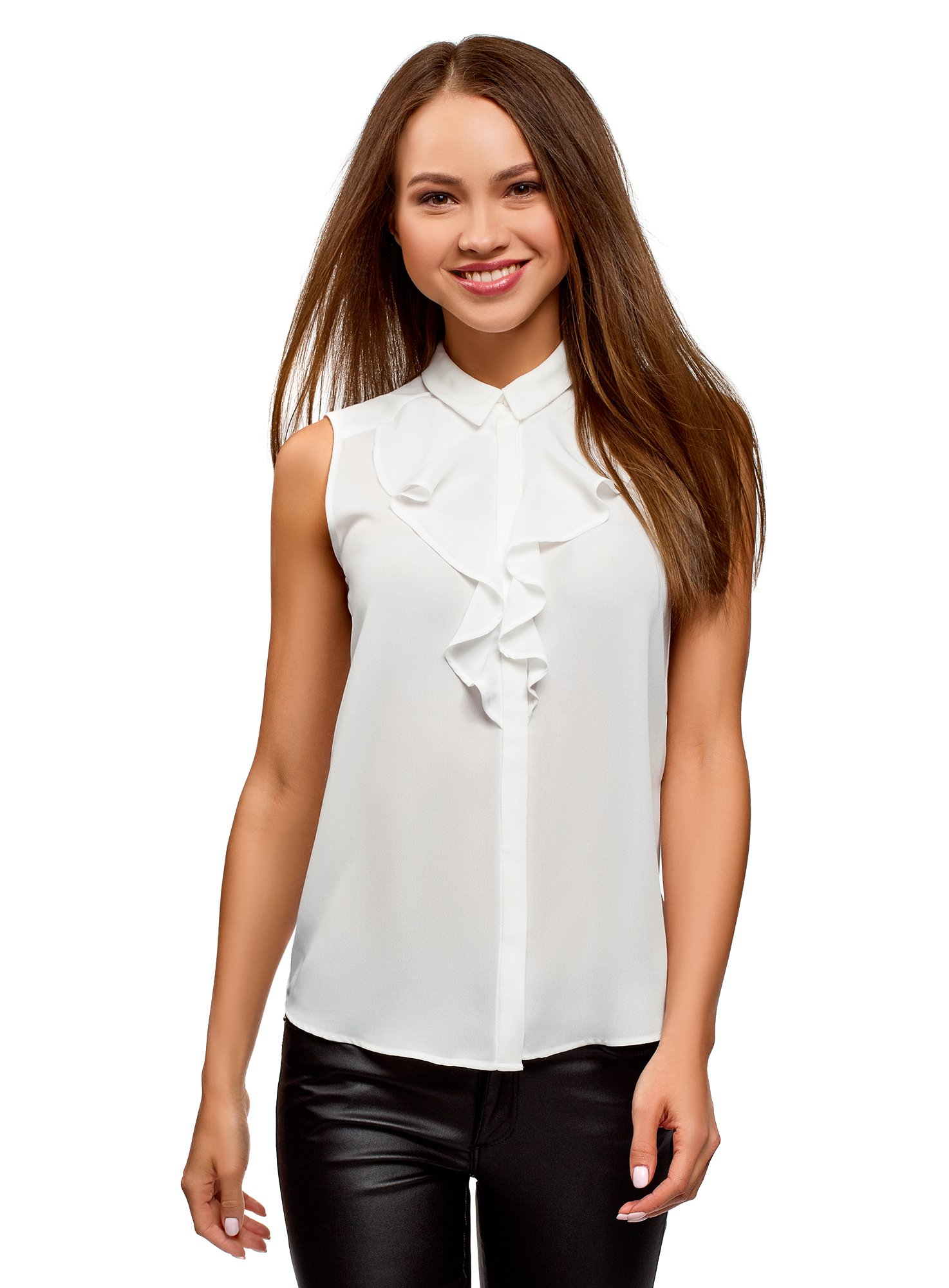 oodji Collection Women's Flounce Collar Top in Flowing Fabric, White, 6 by oodji