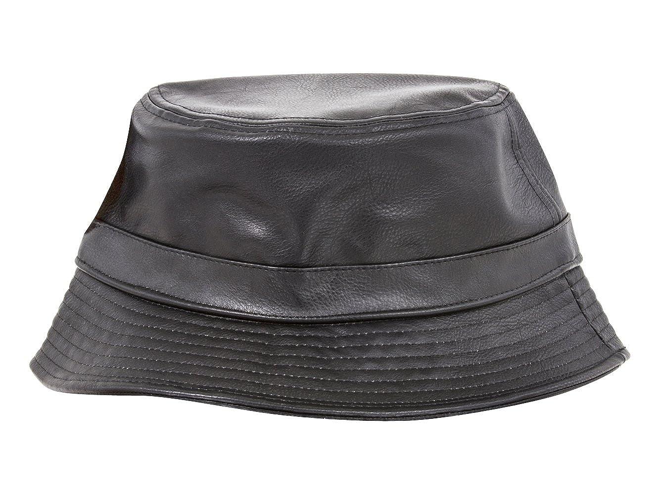 e2b018216ea TOP HEADWEAR PU Leather Bucket Hat - Black at Amazon Men s Clothing store