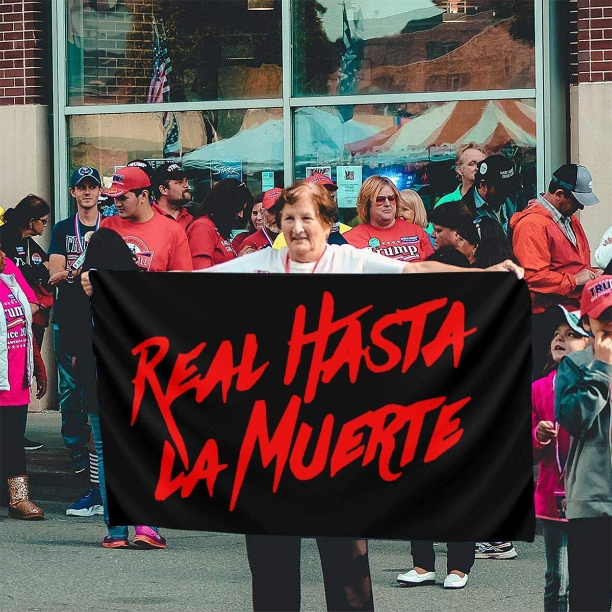 Outdoor Artificial Flag for Home Oaqueen Bandiere Real Hasta La Muerte Logo Decorative Bandieras Garden Yard Decorations 3x5 Ft