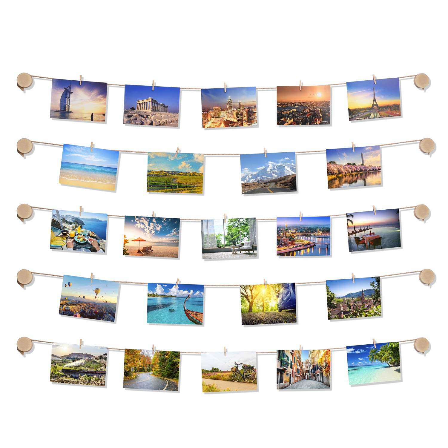 TWING Clip Photo Display - Easy Install Self Adhesive 3M Hanging Photo Display Picture Frame Collage - 10 Wooden Button Holders for Wall Decor Hanging Photos