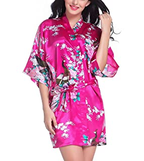 a198875933 Mobarta Women s Kimono Robe Short Satin Robe Bridesmaid Robes Peacock Silk  Floral Robes