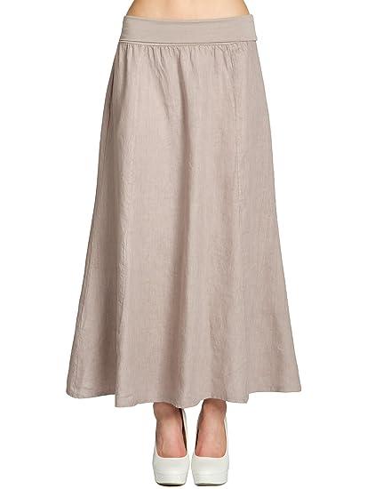 15b6683b5f9b CASPAR Fashion Caspar RO019 Women Linen Maxi Skirt/Long Pleated Skirt with  Stretch High Waist Band: Amazon.co.uk: Clothing