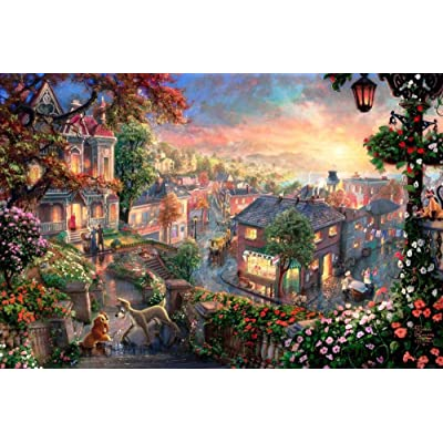 JHWJJ 1000 Piece Adult Jigsaw Puzzle Unique Gift -Wooden Puzzle Home Decor Art Educational Toy Gift -Lady and The Tramp in Their Colorful Town: Toys & Games
