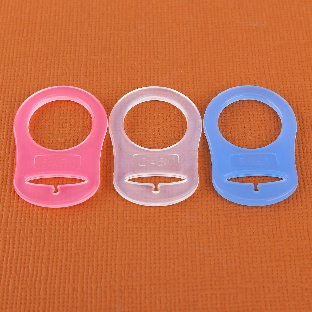 30pcs Clip de silicona Baby Bab?MAM RINGS DUMMY CLIPS Color Transparente Azul Rosa