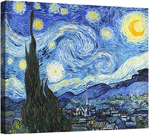 Amazon Com Eliteart Starry Night By Vincent Van Gogh Oil Painting Reproduction Giclee Wall Art Canvas Prints Posters Prints