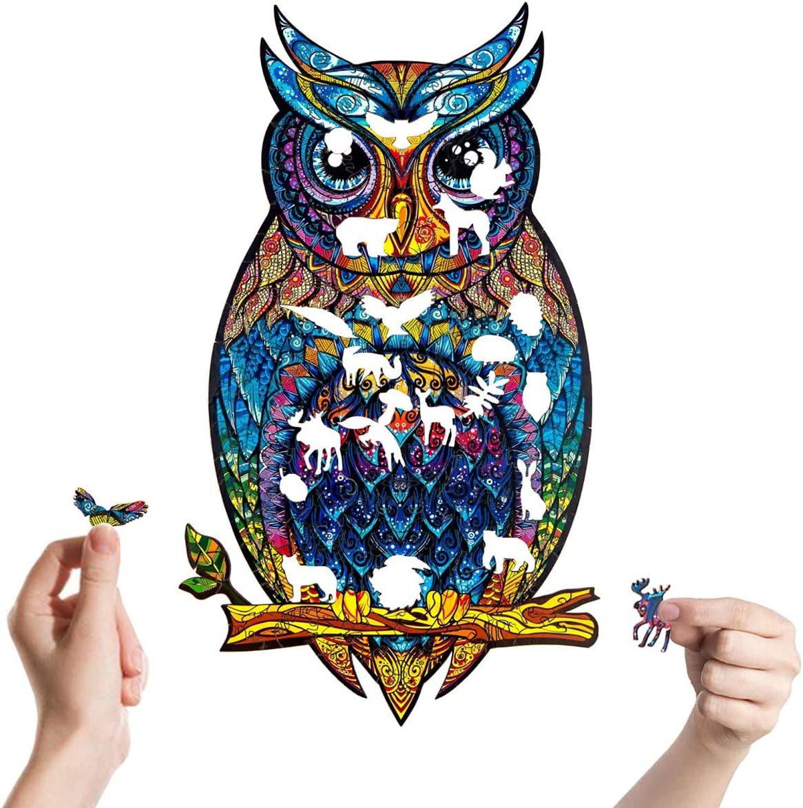 Owl Pieces Puzzles Wall Decals, Colorful Owl Animals Wall Sticker Peel and Stick for Kids Nursery Room, Owl Home Décor Mural Vinyl Removable for Baby Boys & Girls Bedroom
