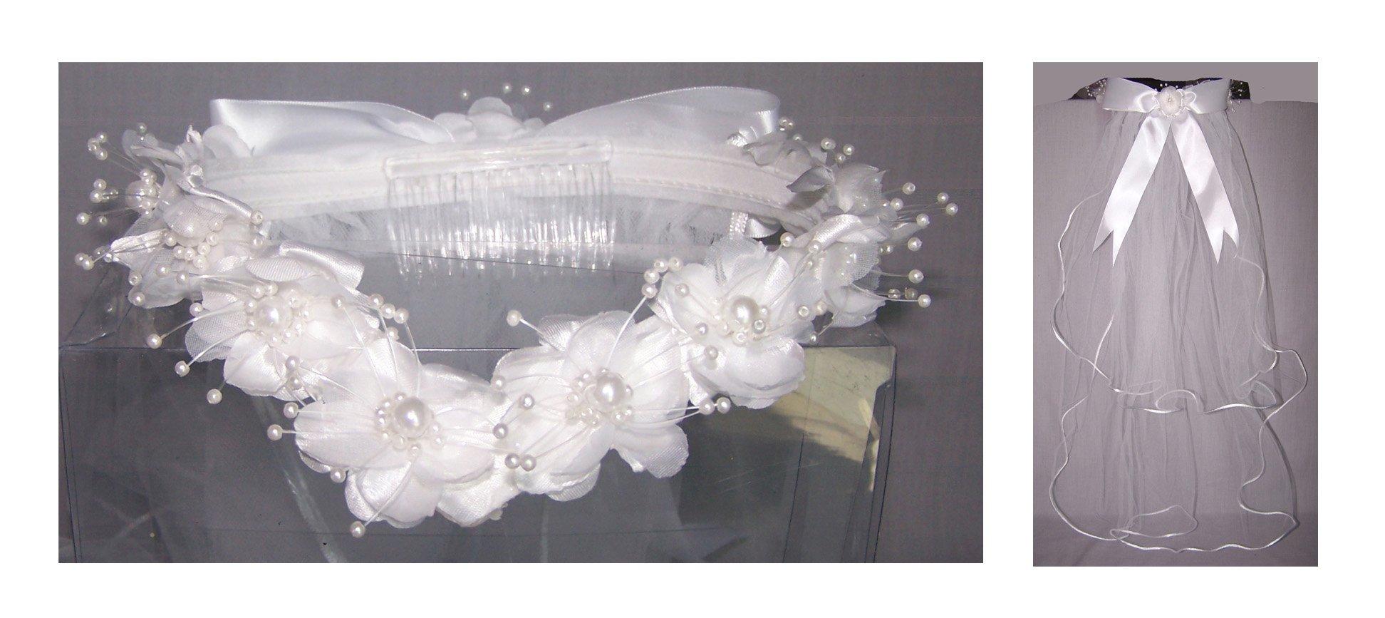 Handmade White Communion Veils With Flowered Tiara (Veil402 Z)