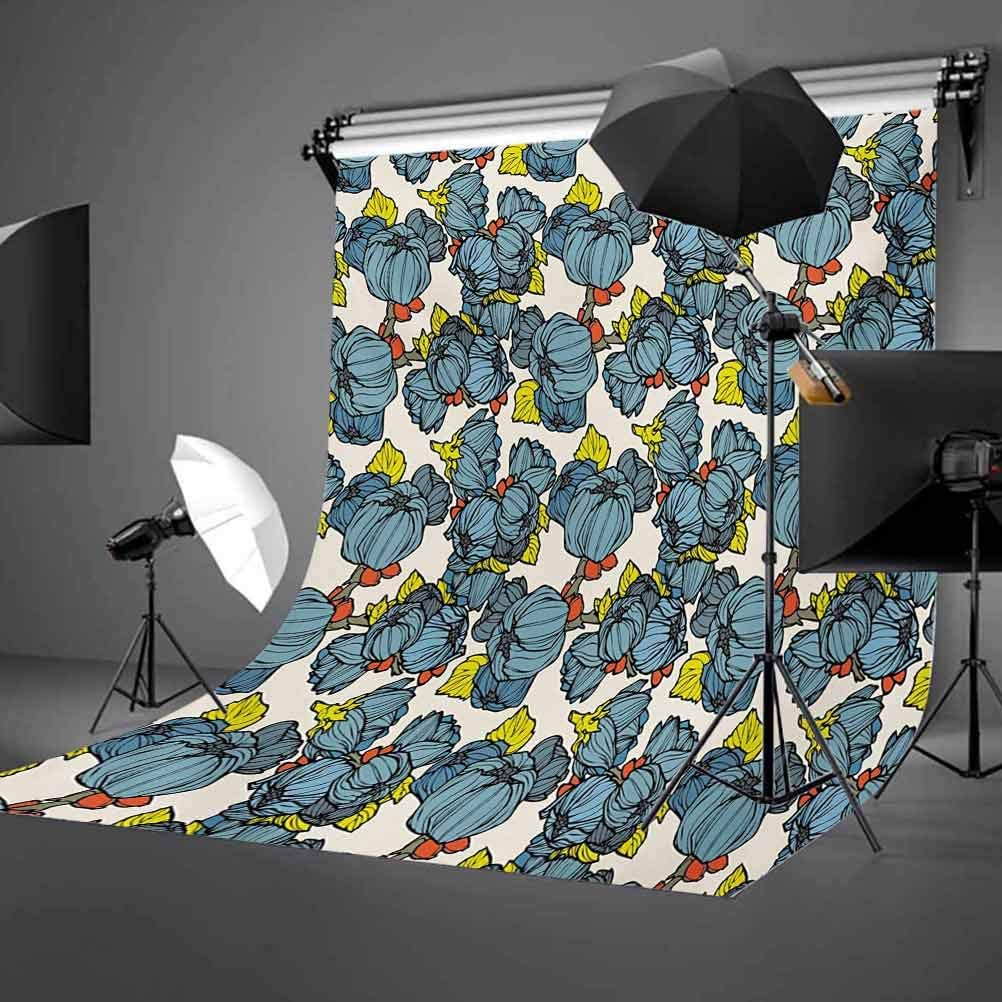 Floral 10x12 FT Photo Backdrops,Blue Lupin Flowers Lively Bouquets Vintage Old Nature Garden Art Background for Child Baby Shower Photo Vinyl Studio Prop Photobooth Photoshoot