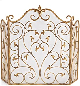 YYLL Wrought Iron Fireplace Screen Living Room Fireplace Screen Fence,Fireplace Core Embedded with Mesh Iron Art Partition Hollow Decorative Mantel (Color : Gold)