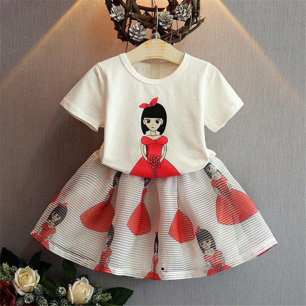 FTSUCQ Girls Cartoon Beauty Shirt Top with Skirt,Two-Pieces Sets
