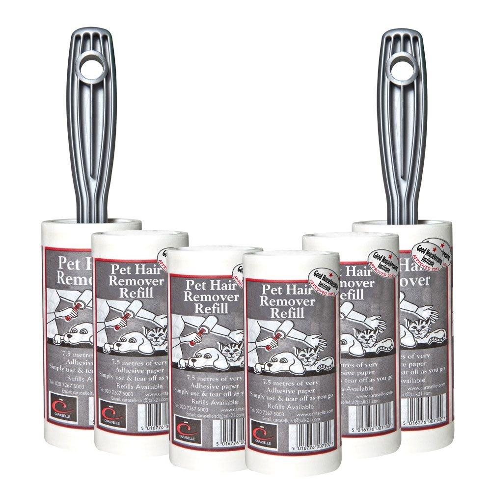 Caraselle Set mit 2 Tierhaarentferner sticky Malerwalzen mit 4 Ersatzminen mit 45metres lange Rolle sticky Papier