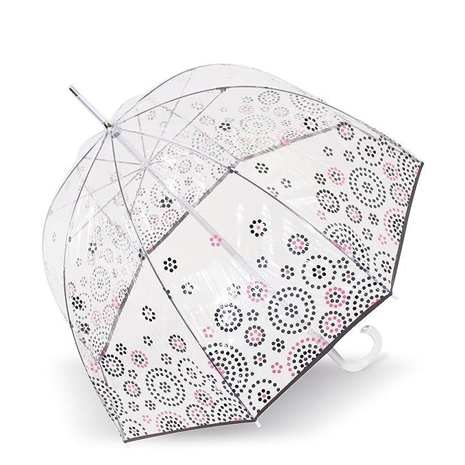 Isotoner Paraguas Cesta transparente para mujer PVC/Ronds de pois