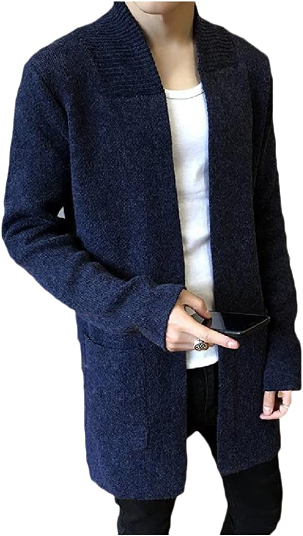 Honey GD Mens Casual Pure Colour Long-Sleeve Pockets Knitted Cardigan