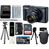 "Canon PowerShot SX740 HS Digital Camera (Black) with 20MP, 4K HD Video, 40x Optical + 40x Digital Zoom, Wi-Fi, Bluetooth and 3.0"" Tilt LCD + 64GB Card + Reader + Case + Tripod + Accessories Bundle"