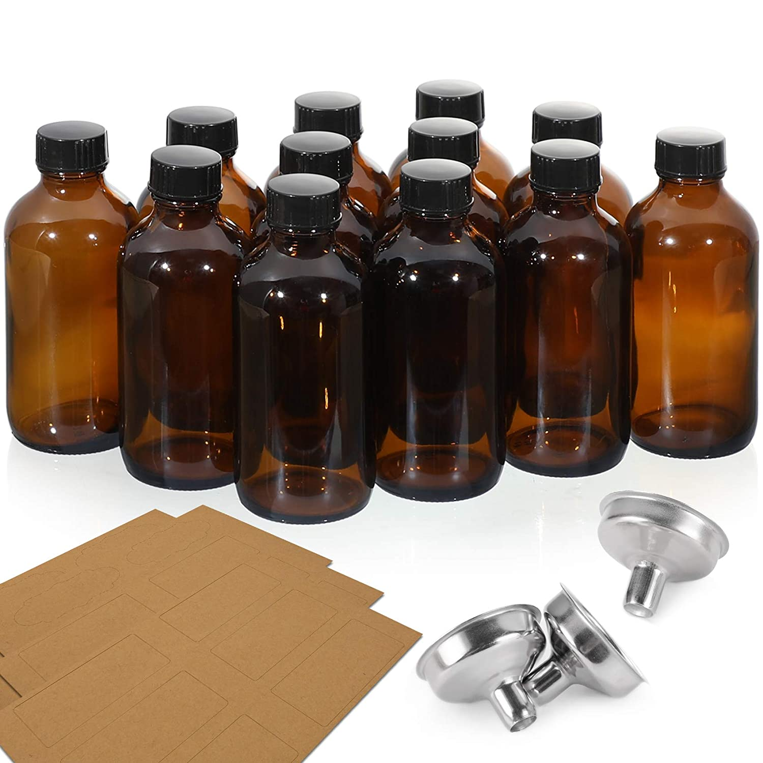 12 Pack, 4 OZ Glass Amber Bottles with Black Poly Cone Cap & 3 Stainless Steel Funnels & 12 Labels - 120ml Boston Round Sample Bottles, Brown Glass Apothecary Bottles