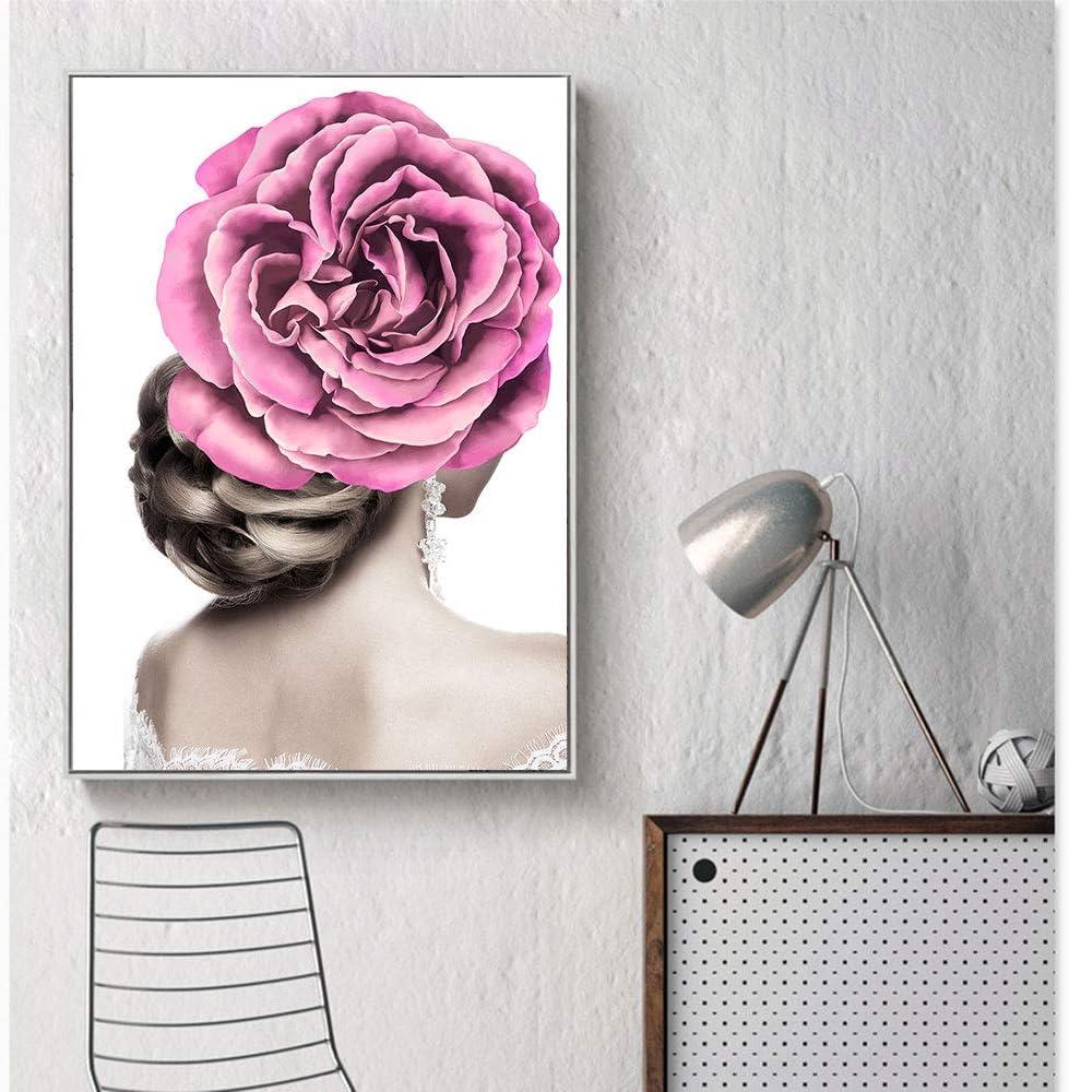 SDFSD Moda niña de Las Flores Pintura al óleo Lienzo impresión de Carteles decoración nórdica Moderno hogar Club de Belleza Mural Creativo 60X100CM