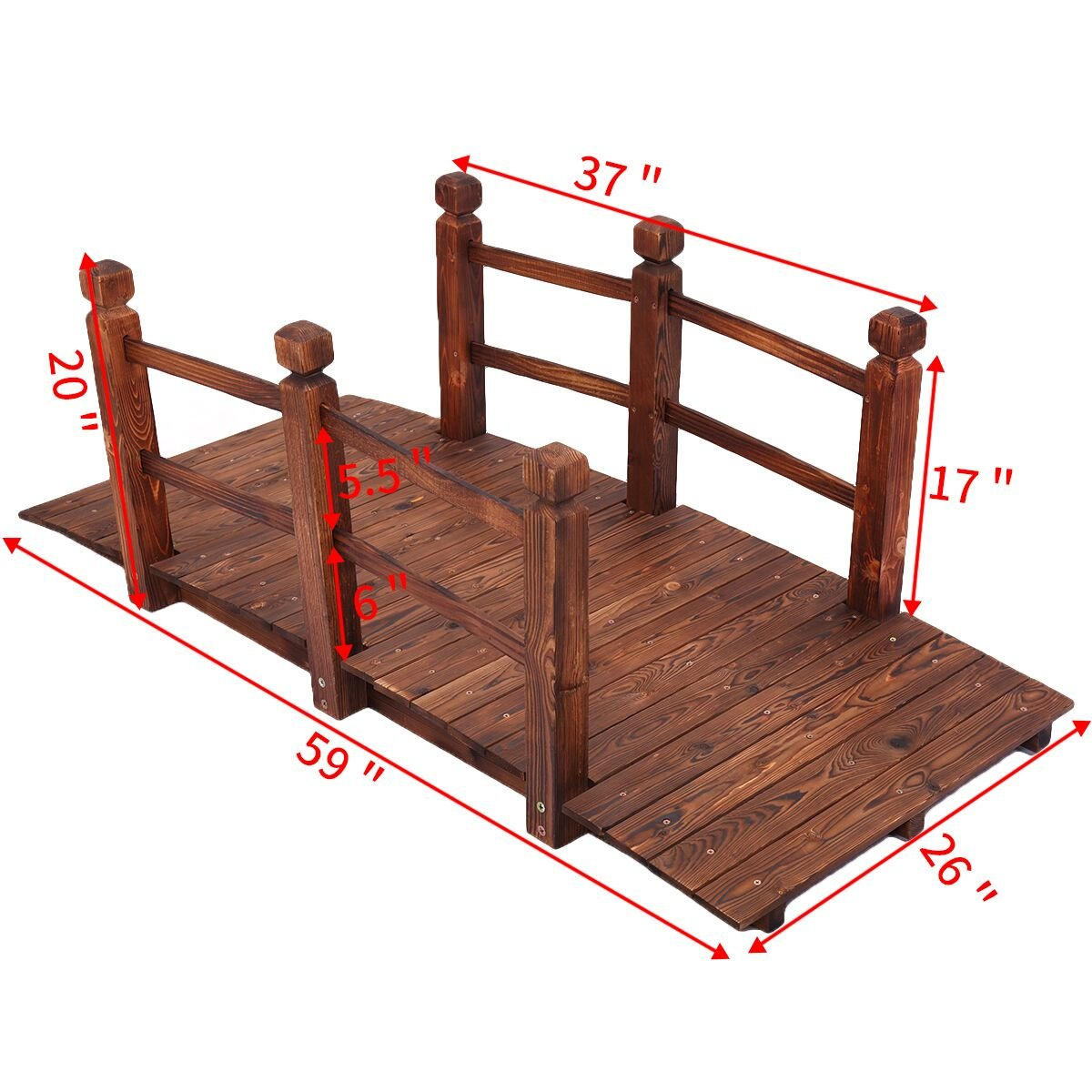 JAXPETY 5'' Wooden Bridge Stained Finish Decorative Solid Wood Garden Pond Arch Walkway w/Railings by JAXPETY (Image #3)