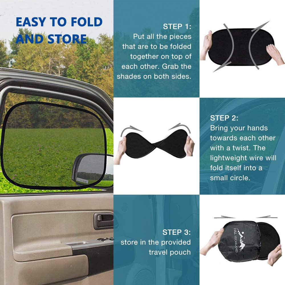 No-Suction Cup |Adhesive-Free Car Window Shade Cling-On 21 x 14 UV Protection Windshield Sun Shade | Car Sun Shade 4 Pack Cling-on Car Sun Shades Sun Protection Sun-protection