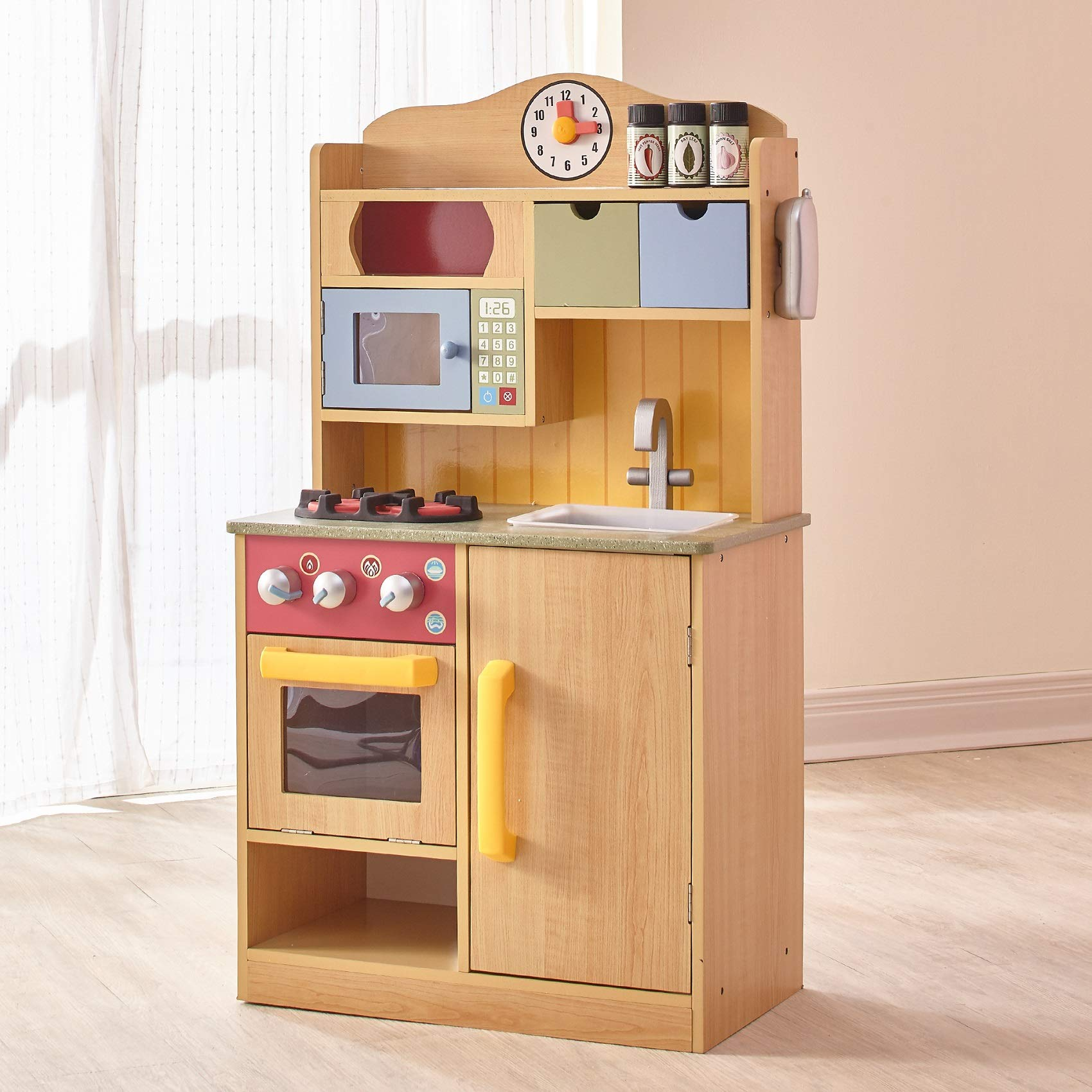 Teamson Kids - Little Chef Florence Classic Kids Play Kitchen | Toddler Pretend Play Set with Accessories - Wood Grain by Teamson Kids