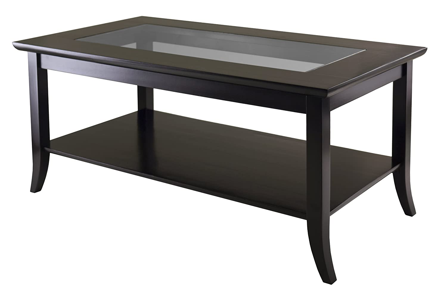 Winsome Wood Genoa Rectanuglar Coffee Table with Glass Top and Shelf 92437