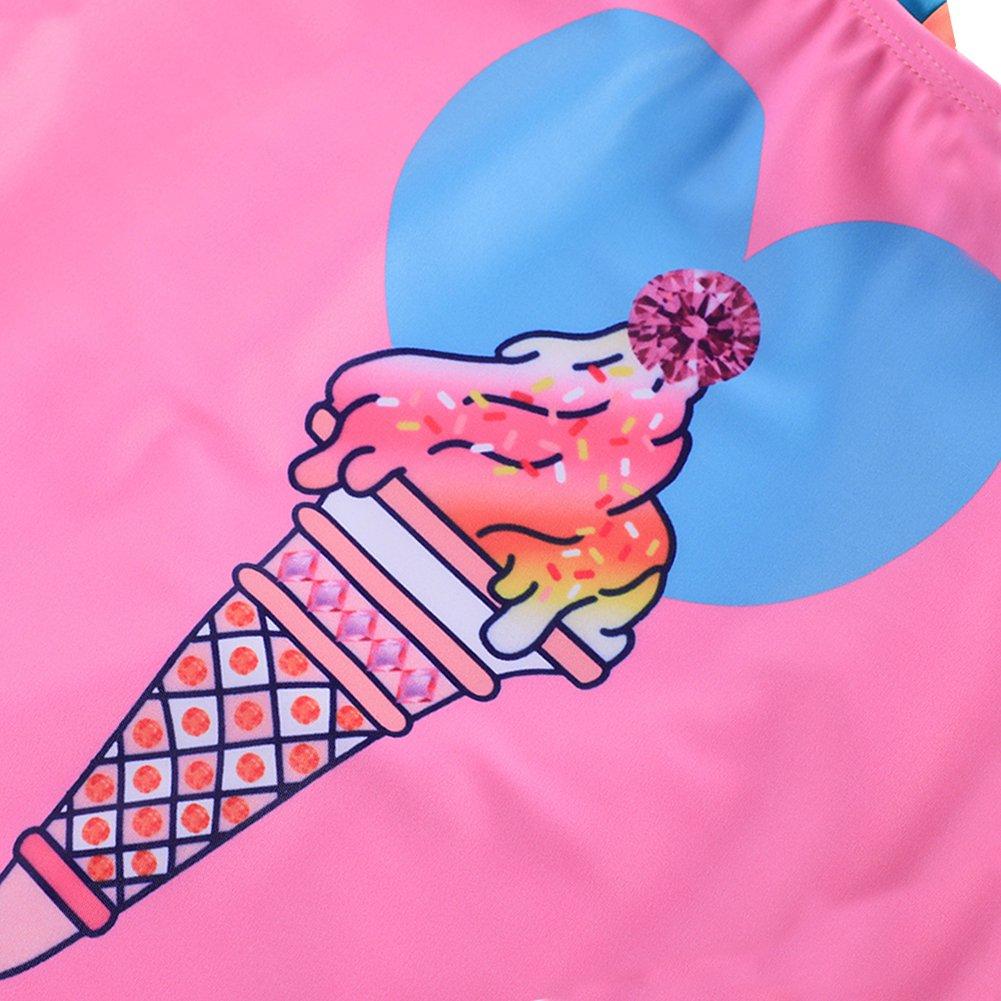 Age 4-16 Years DUSISHIDAN Girls Swimming Costume One-Piece Swimsuit Racer Back Pink Swimwear Girls UPF 50