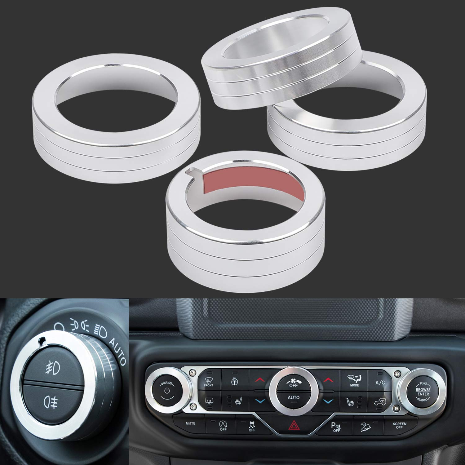 Camoo 4 pcs Headlight /& Audio Air Conditioning Button Cover Decoration Twist Switch Ring Trim for 2018 2019 Jeep Wrangler JL JLU Silver