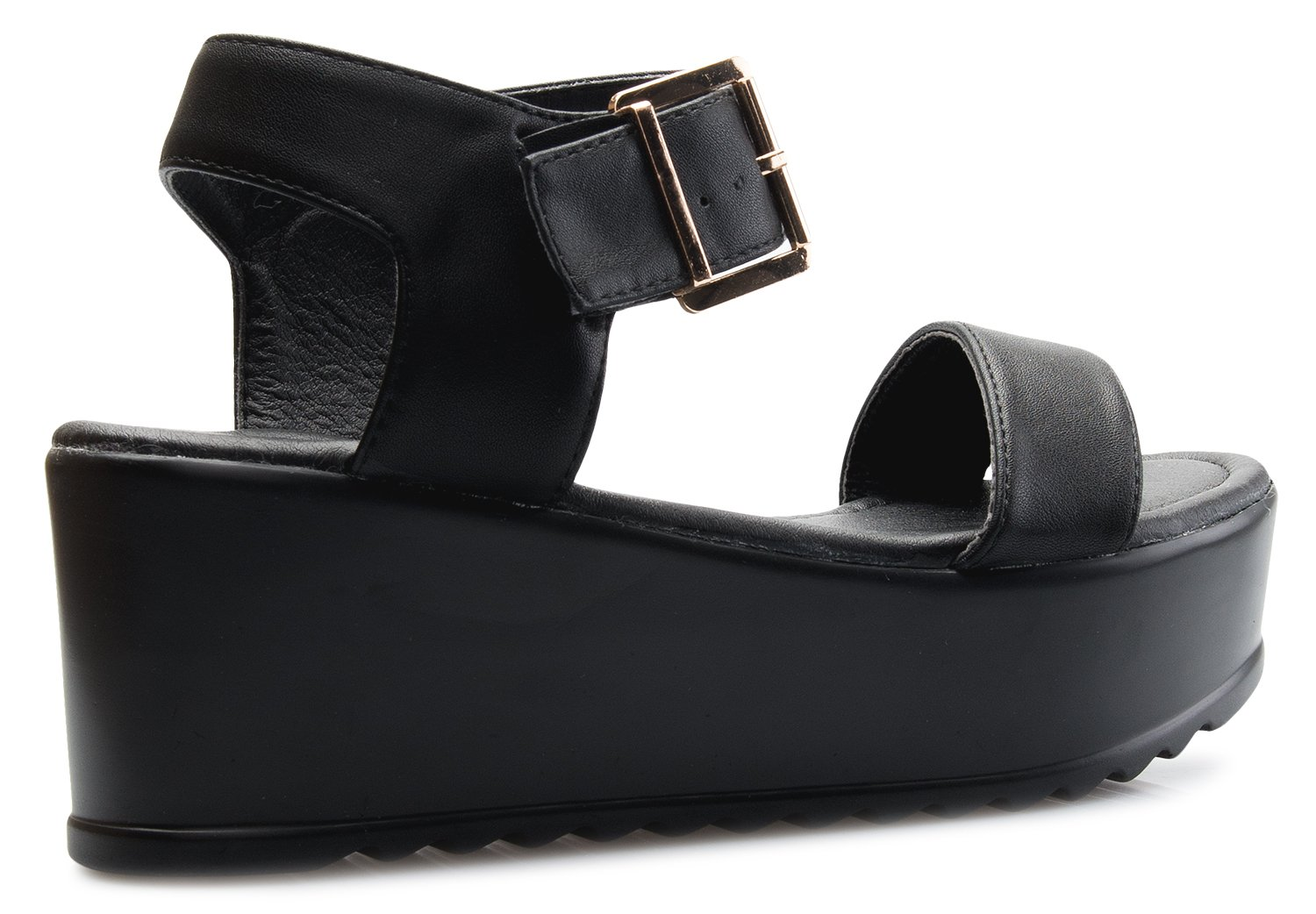 OLIVIA K Women's Platform Buckle Sandal - Open Peep Toe Fashion Chunky Ankle Strap Shoe,Black,8 B(M) US by OLIVIA K (Image #3)