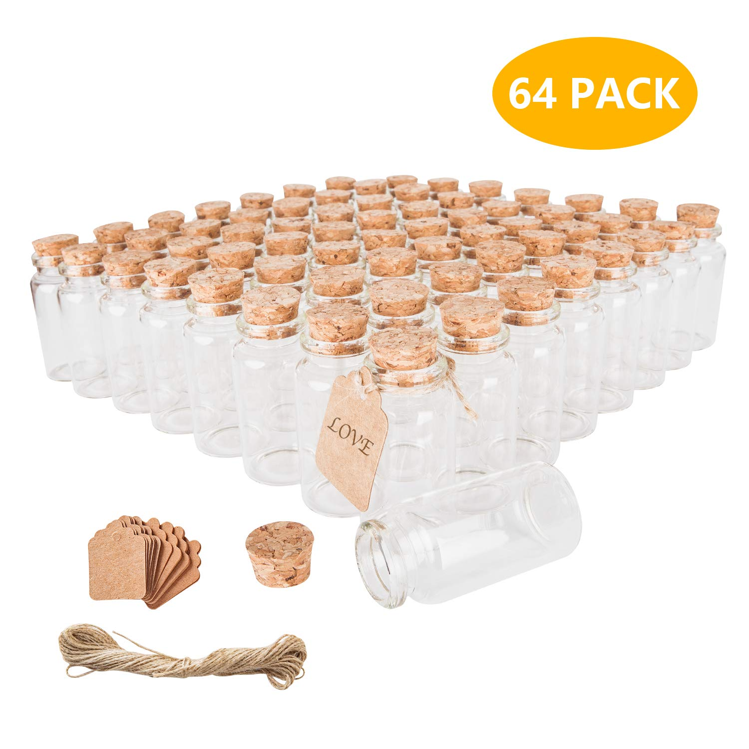 30ml Glass Baby Bottles with Cork Lids, Small Jars with Personalized Label Tags and String, Mini Bottles of Candy, Wedding Favors for Guests, Set of 64 by Brajttt