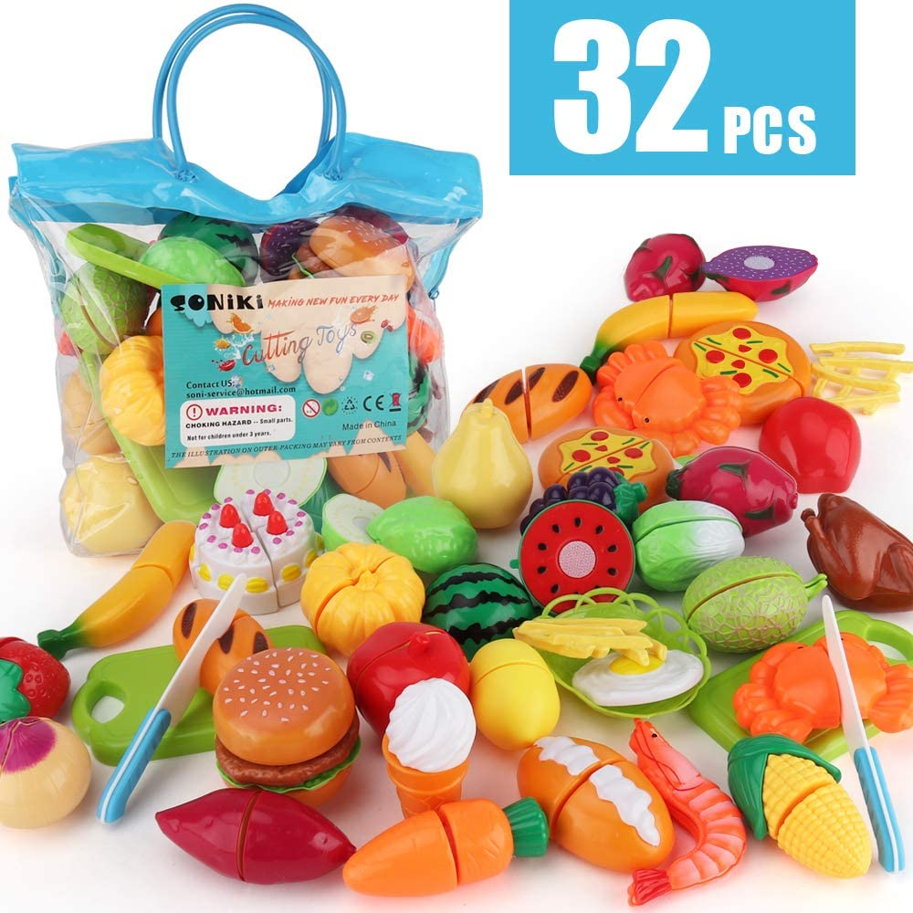 Sotodik 32PCS Cutting Toys Pretend Food Fruits Vegetable Playset Educational Learning Toy Kitchen Play Food For Boy Girl Kid With Handbag packing (Bule)