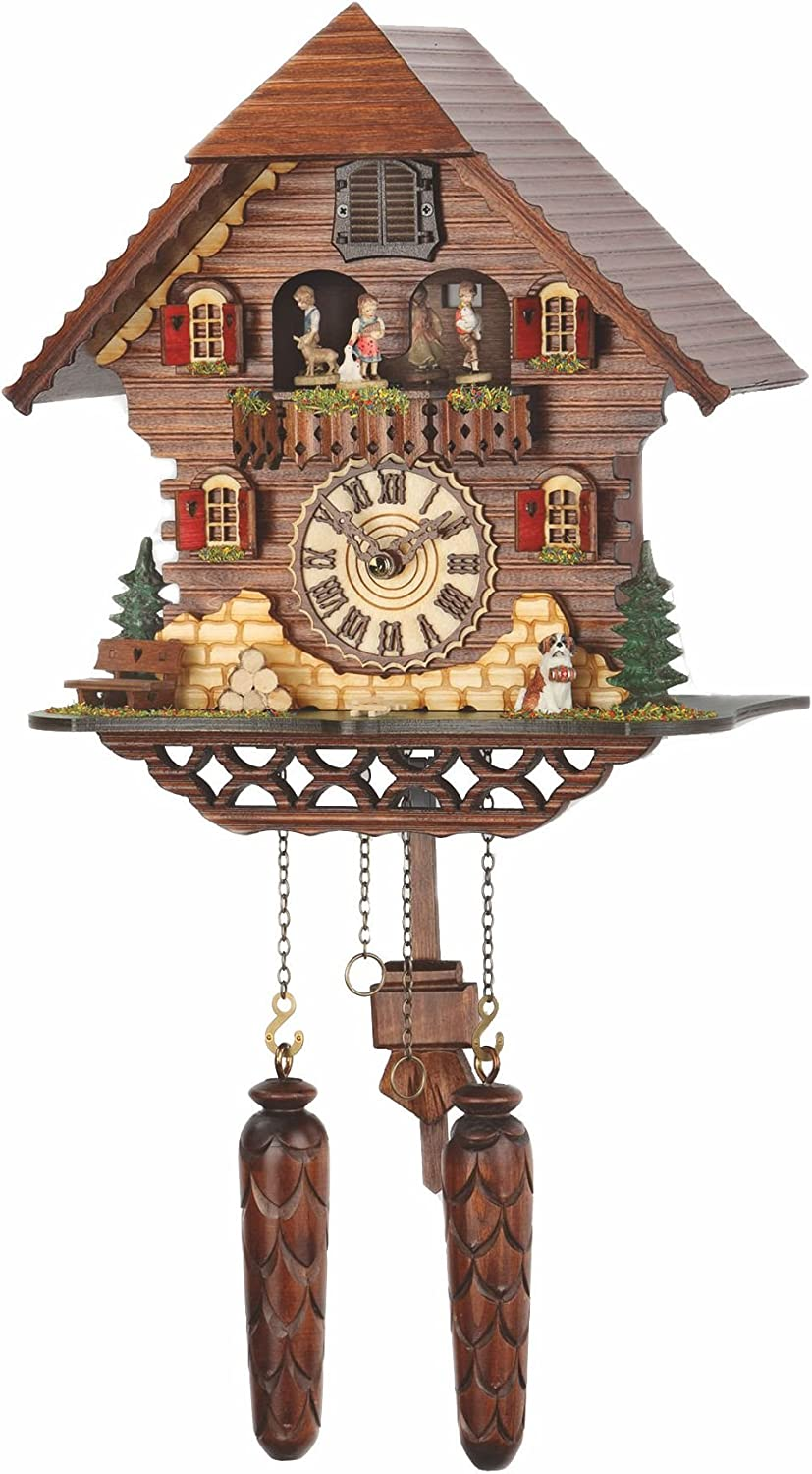 Trenkle Quartz Cuckoo Clock Black Forest House with Music, Turning Dancers TU 469 QMT HZZG