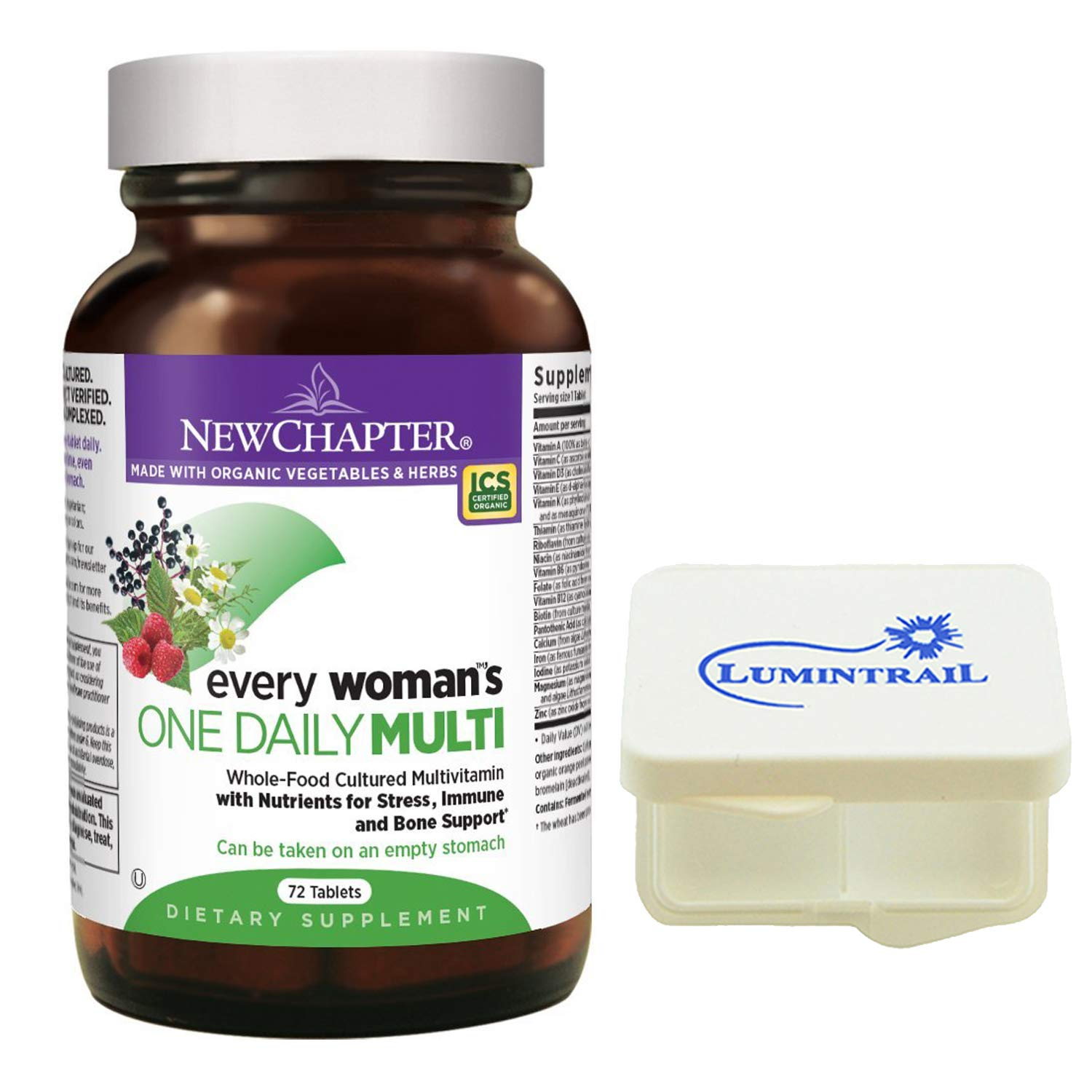 New Chapter Every Woman's One Daily, Women's Multivitamin with Probiotics, Iron, B Vitamins, Vitamin D3, 72 Tablets Bundle Includes a Lumintrail Pill Case