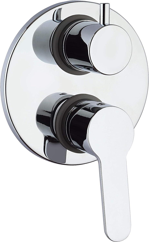 Design moderno Bagno Cromato interamente prodotto e lavorato in Italia GIADA 691 Rubinetto Miscelatore Monocomando per Doccia da Incasso con deviatore rotativo 2 uscite Paini