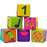 Hrph 6 in 1 Set Infant Baby Cloth Soft Rattle Building Blocks Educational Toys Baby Toy Soft Blocks Set Cube Cloth