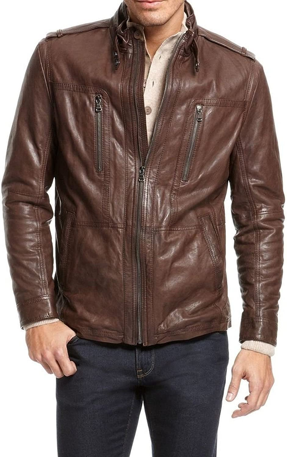 New Men Quilted Leather Jacket Soft Lambskin Biker Bomber T807