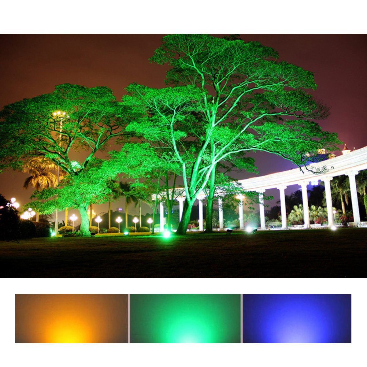 autai led flood light waterproof 30w spotlight bulb rgb multi color changing dimmable with smart bluetooth app control for courtyard garden lawn tree