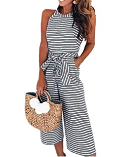 7042f523ad3f SELUXU Womens Striped Waist Belted Wide Leg Jumpsuit