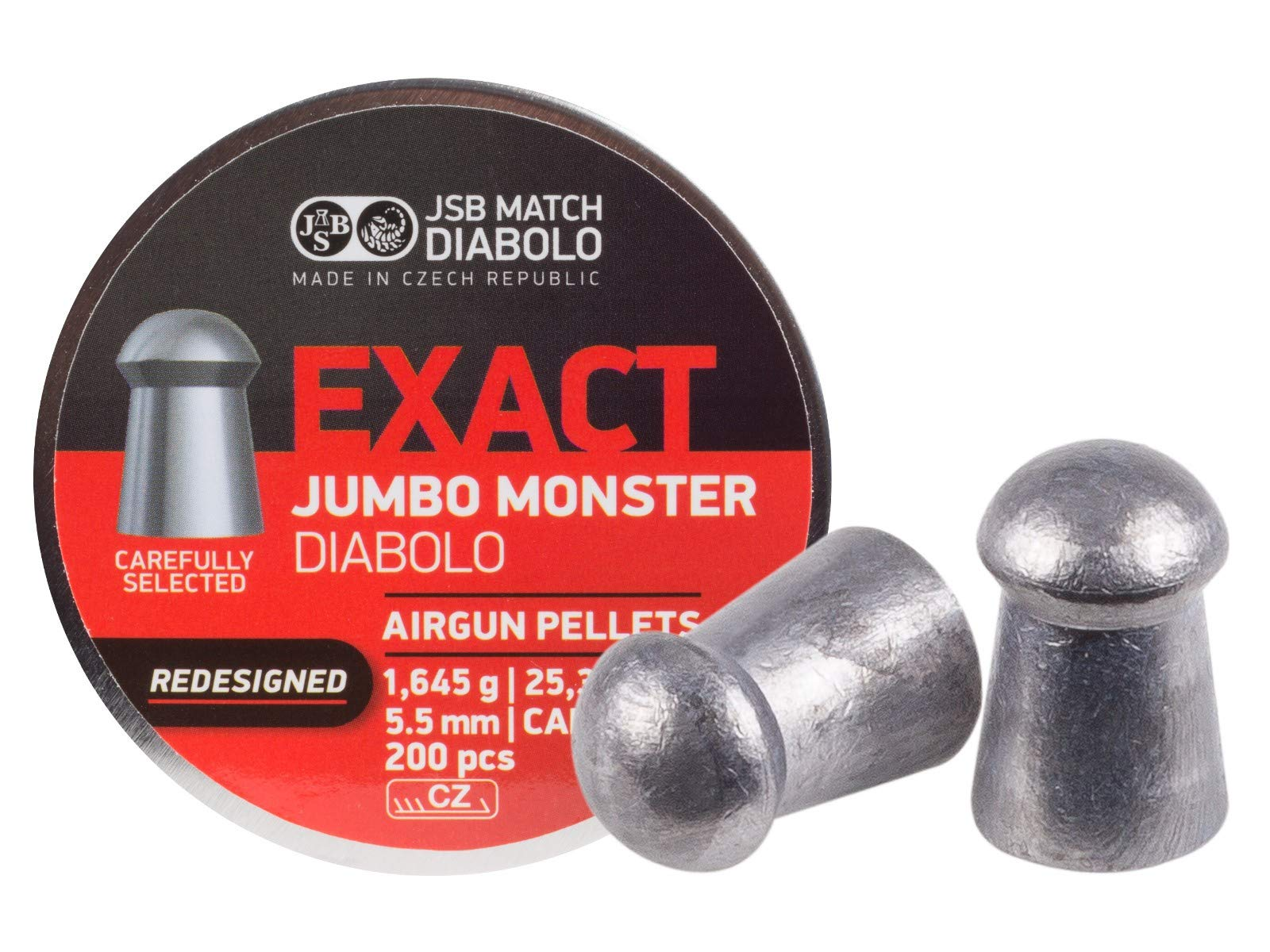 JSB 546388-200 Jumbo Exact Redesigned Monster Air Gun Pellets .22 Cal, 25.4 Grains, 200ct by JSB