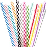 Dakoufish 12 Piece 7 Inch Reusable Plastic Thick Drinking Straws BPA Free Mason Jar Straws Transparent Small Stripe (7inch, M