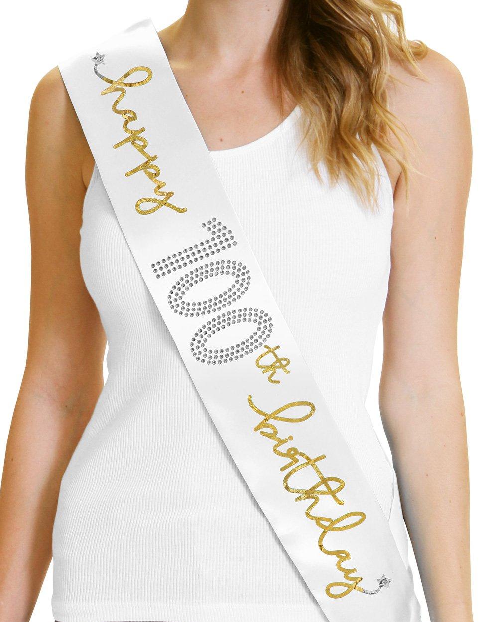 Happy 100th Birthday Metallic Gold Saitn Sash 100th Birthday Party Decorations White Sash(Hpy100Bday Gld) WHT